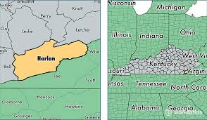 kentucky map harlan harlan county kentucky map of harlan county ky where is