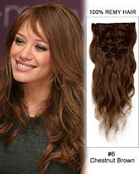 remy human hair extensions 18 11pcs 6 chestnut brown wave clip in remy human hair
