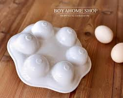 ceramic egg plate white ceramic egg plate porcelain egg tray container storage