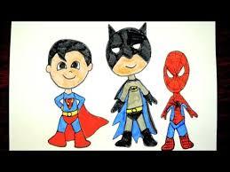 draw batman superman spiderman kids superhero
