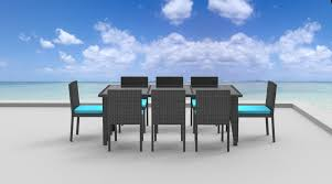 Blue Dining Set by 9 Piece Wicker Outdoor Patio Dining Set Gray Wicker Sea Blue