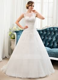 ball gown scoop neck sweep train organza tulle wedding dress with