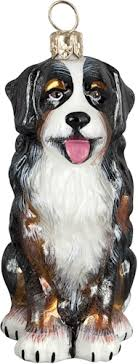 glass ornaments bernese mountain sitting ornament