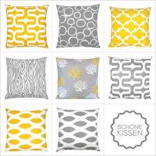 design kissenh llen kombinationsmöglichkeiten gelb grau grafisch schöne kissen