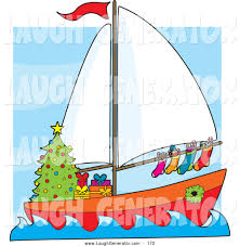 humorous clip art of a colorful sailing sailboat with hung