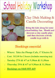 clay dish making and candle decorating workshops wide bay kids