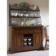 Bakers Rack Solid Wood Sideboard With Marble Top And Wrought Iron Baker U0027s Rack
