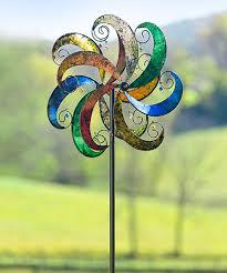 multicolor jingle scroll wind spinner kinetic garden stake by plow