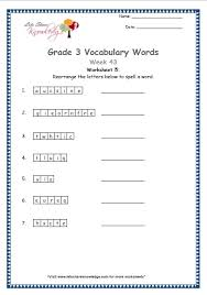grade 3 vocabulary worksheets week 43 lets share knowledge