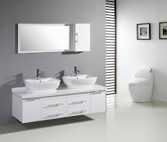 soft grey wall color with impressive white vanity cabinet for