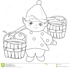 elf fetching water coloring page stock illustration image 51223499