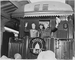 Summary Of Iron Curtain Speech File Photograph Of President Truman Waving His Hat And Winston