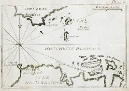 Map Of Sardinia Italy by Map Of The Strait Of Bonifacio Between Corsica And Sardinia