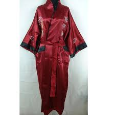 robe de chambre homme en soie bourgogne noir chinois hommes de soie satin réversible robe