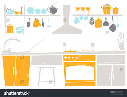Interior Of Kitchen Interior Kitchen Place Concept Flat Design Stock Vector 406098571