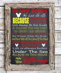Disney Home Decor Ideas In This House We Do Disney Inspired A4 Metal Sign Plaque Wall Art