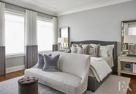 gray bedroom with ivory linen nailhead nightstands contemporary