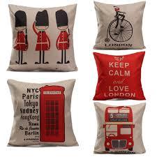 england home decor england style printing cushion cover sofa bed pillow linen cases
