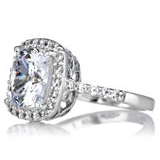 engagement rings boston cushion cut cz halo engagement ring 10mm