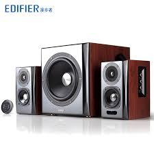 Living Room Bluetooth Speakers Edifier S201 Bluetooth Speaker 2 1 Subwoofer Desktop Wooden Living