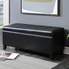ac pacific contemporary button tufted shoe storage leather ottoman