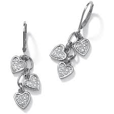 heart shaped earrings diamond accent platinum sterling silver dangling heart shaped