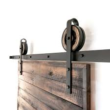 Barn Door Hardware Track System by Rustic Wooden Thin Strap White Shanty