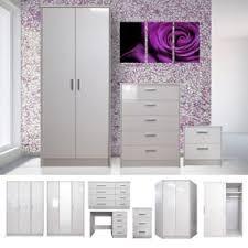 White High Gloss Bedroom Furniture Set Wardrobe Chest Bedside - White high gloss bedroom furniture set