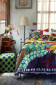 Colorful Patterned Curtains Bedroom A Bright Boho Bedroom With Colourful Patterned Bed