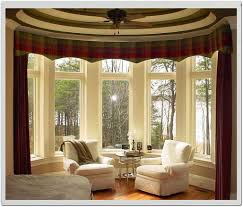 brown cornice window treatment bay window on the modern windows