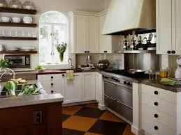interior classic kitchen design with brick backsplash and white