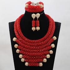 aliexpress bead necklace images Vintage red orange crystal handmade sets nigerian african wedding jpg