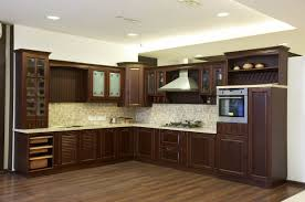 modular kitchen with solid wood finish classic traditional design