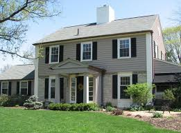 gray siding with white trim black accents light stone ours is