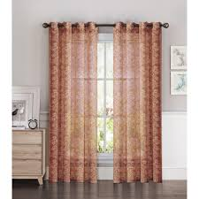 Sheer Curtains Orange Window Elements Sheer Botanica Faux Linen 54 In W X 84 In L Semi