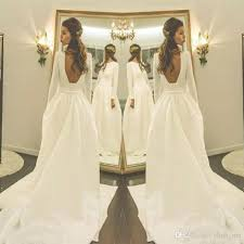 discount vintage long sleeves wedding dresses cheap low back