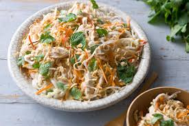 Noodle Salad Recipes Vietnamese Coconut Poached Chicken And Rice Noodle Salad
