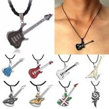 charm leather necklace images Charm punk men 39 s unisex stainless steel guitar leather pendant jpg