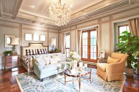 Chandelier In Master Bedroom Luxurious Edwardian Style Master Bedroom With Solid Blue Sofa With