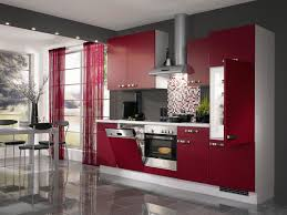 stylish house modern open kitchen on tile flooring with red retro cabinets and