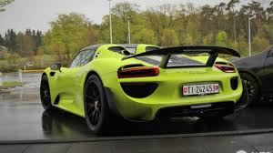 green porsche porsche 918 spyder spotted with weissach package and lime green