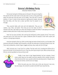 emma u0027s birthday party reading comprehension worksheet