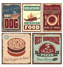 affiche cuisine vintage signes étain style vintage et rétro affiches image vectorielle