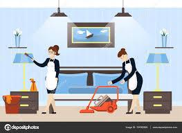 nettoyage chambre hotel nettoyage des chambres de hotel image vectorielle inspiring vector