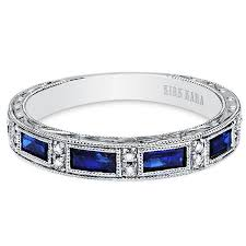 sapphire wedding ring kirk kara blue sapphire baguette and wedding band