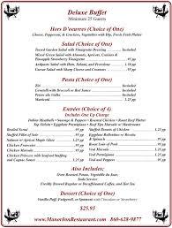 Buffet Menu For Wedding by Wedding Place Southington Manor Inn