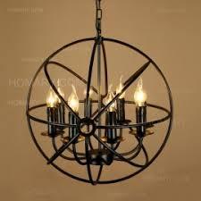 Black Metal Chandelier Weathered Wooden Globe Candle Style Nostalgic Chandelier Metal Rust