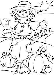 coloring pages of autumn halloween scarecrow coloring pages autumn scene with scarecrow