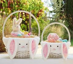 easter baskets for kids pink bunny easter basket liners pottery barn kids