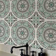spanish tile stencil pattern majolica tile wallpaper stencil for